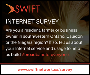 SWIFT Internet Survey. Are you a resident, farmer or business owner in southwestern Ontario, Celedon or the Niagara region? If so, tell us about your internet service and usage to help us build broad band for everyone. Go to www.swiftnetwork.ca/survey